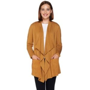 LOGO Lounge French terry cardigan suede detail